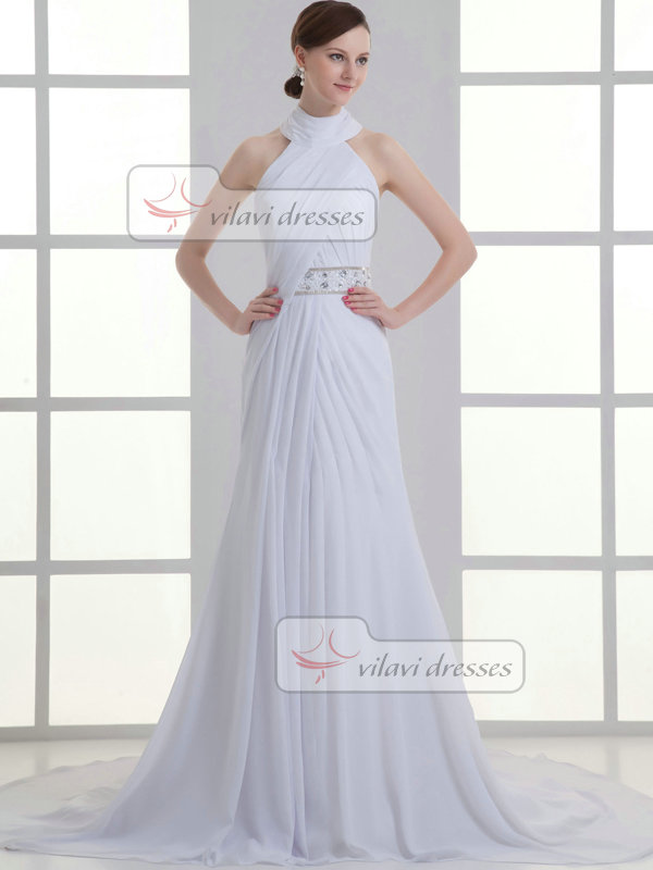 A-line Halter Round Brought Sweep Chiffon Crystal Wedding Dresses