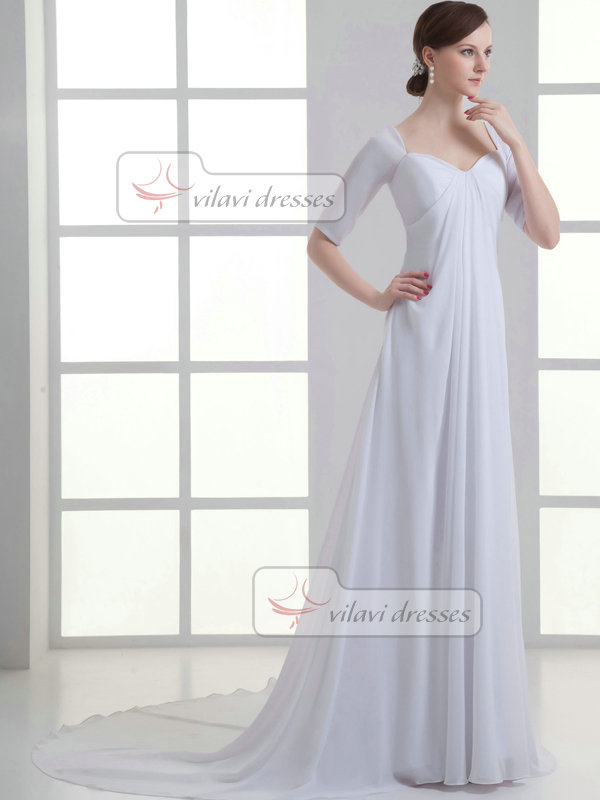 Chiffon wedding dresses with sleeves