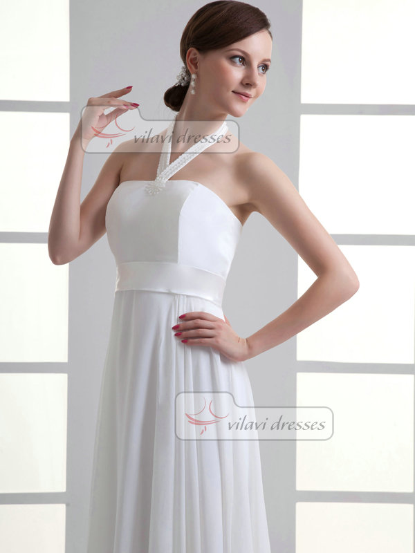 A-line Halter Floor-length Chiffon Draped Wedding Dresses