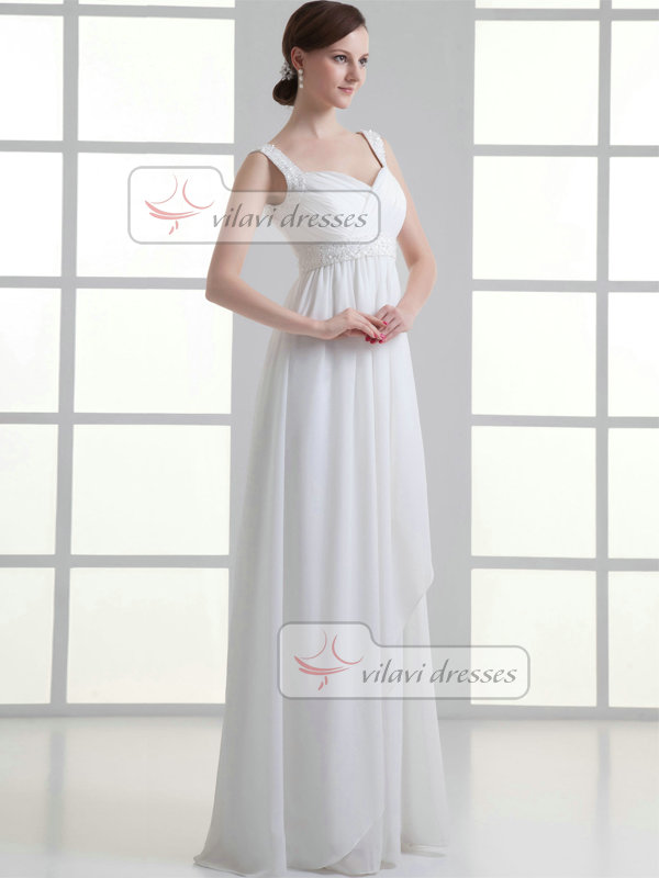 Column Straps Floor-length Chiffon Sequin Beading Wedding Dresses
