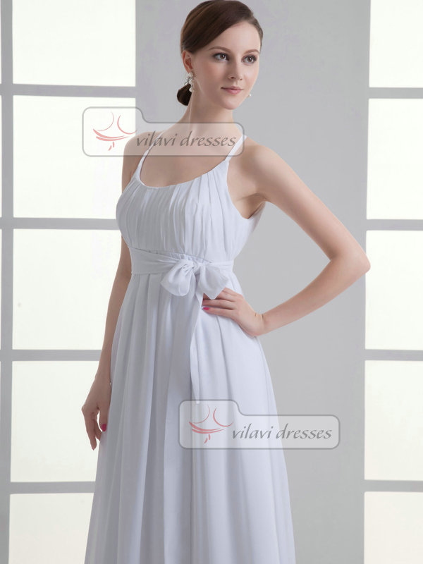 A-line Scoop Floor-length Chiffon Sashes Draped Wedding Dresses
