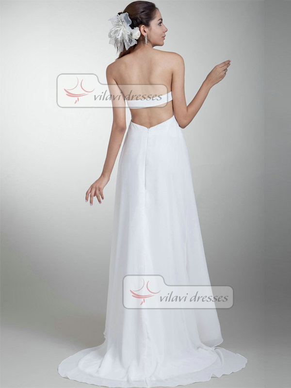 A-line Tube Top Strapless Brush Train Chiffon Open Back Wedding Dresses