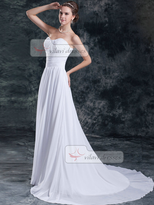 A-line Sweetheart Brush Train Chiffon Draped Tiered Wedding Dresses