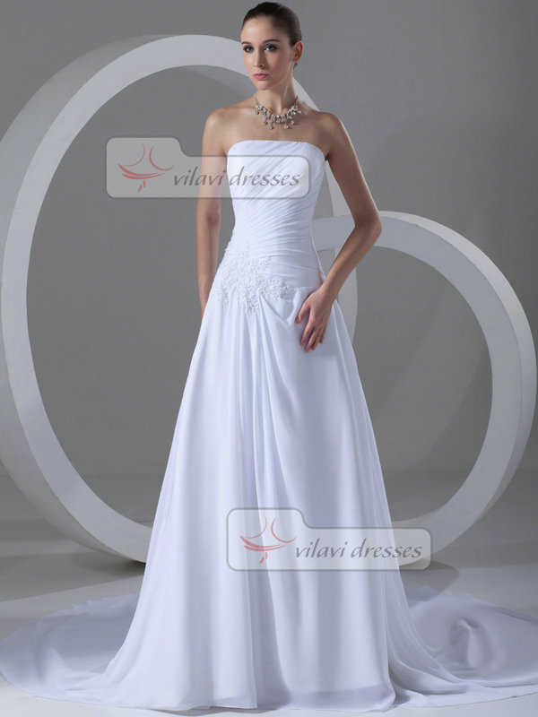 A-line Tube Top Court Train Chiffon Beading Crystal Wedding Dresses