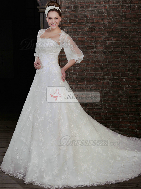 Elegant A-Line Lace Strapless Court Train Wedding Dresses With 3/4 Length Sleeve Jacket
