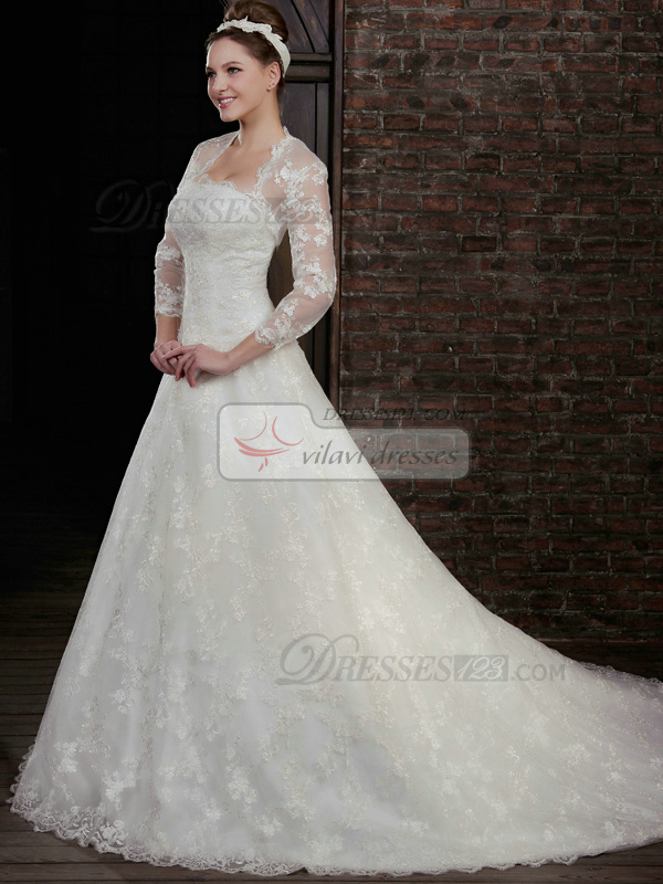 Beautiful A-Line Lace Strapless Court Train Wedding Dresses With Long Sleeve Jacket