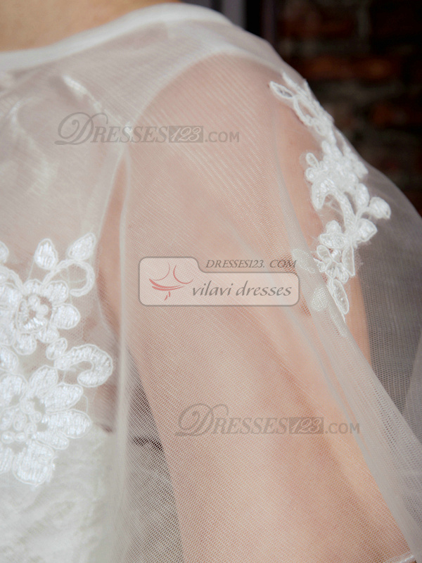 Lovely A-Line Lace Strapless Court Train Wedding Dresses With Jacket