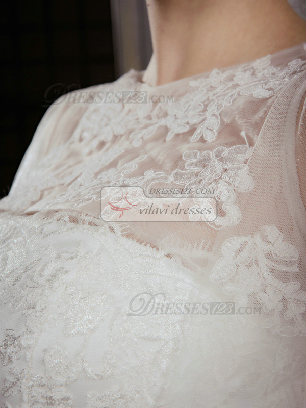Great A-Line Lace Strapless Court Train Wedding Dresses With Half Sleeve Jacket