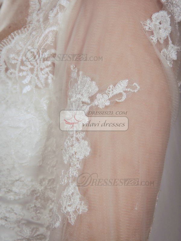 Appealing A-Line Lace Strapless Court Train Wedding Dresses With 3/4 Length Sleeve Jacket