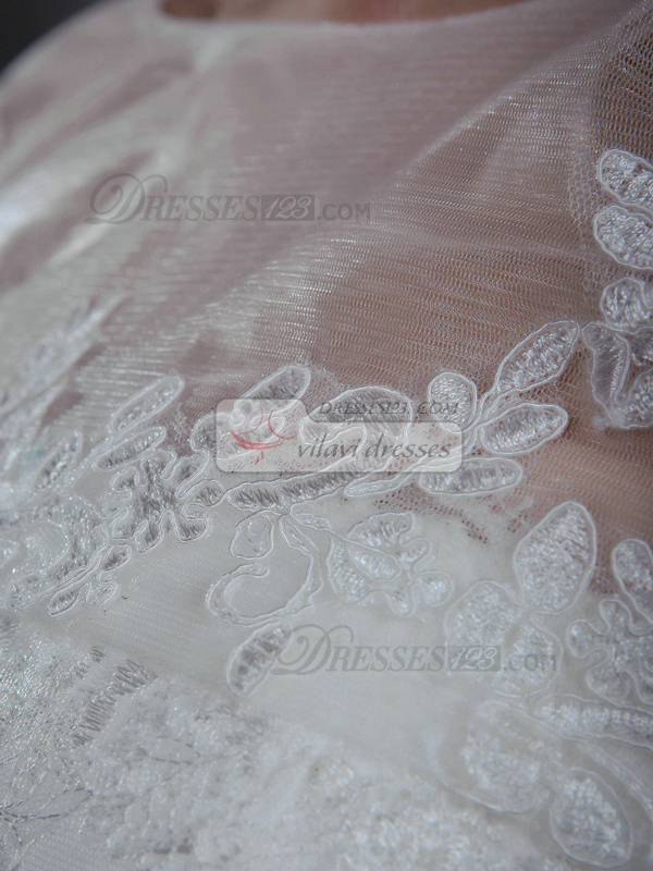 Precious A-Line Lace Strapless Court Train Wedding Dresses With 3/4 Length Sleeve Jacket