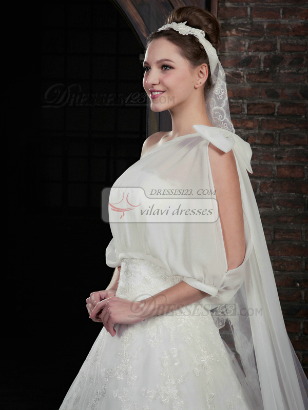 Perfect A-Line Lace Strapless Court Train Wedding Dresses With 3/4 Length Sleeve Jacket