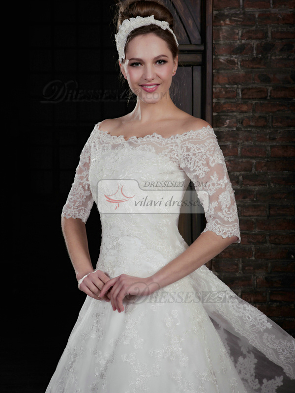 Gorgeous A-Line Lace Strapless Court Train Wedding Dresses With Half Sleeve Jacket