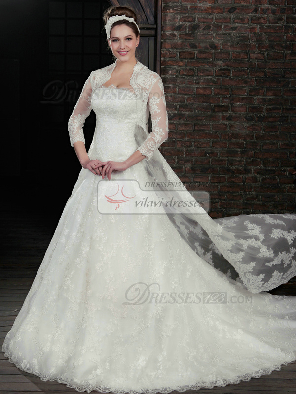 Adorable A-Line Lace Strapless Court Train Wedding Dresses With 3/4 Length Sleeve Jacket