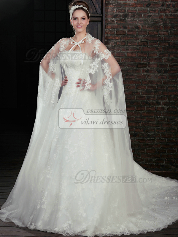 Amazing A-Line Lace Strapless Court Train Wedding Dresses With Jacket