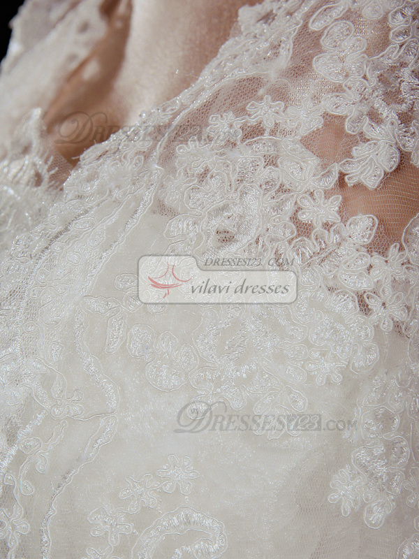 Astonishing A-Line Lace Strapless Court Train Wedding Dresses With Jacket
