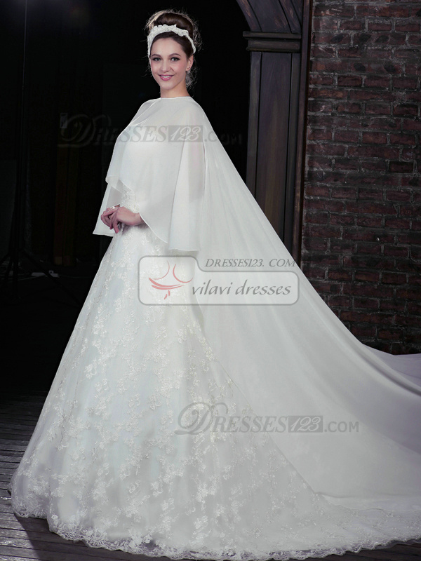 Awesome A-Line Lace Strapless Court Train Wedding Dresses With Jacket