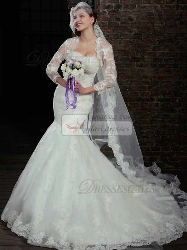 Fantastic Mermaid Lace Strapless Court Train Wedding Dresses With Long Sleeve Jacket
