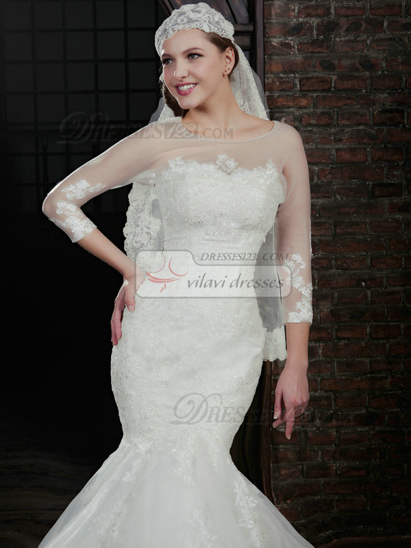 Impressive Mermaid Lace Strapless Court Train Wedding Dresses With 3/4 Length Sleeve Jacket