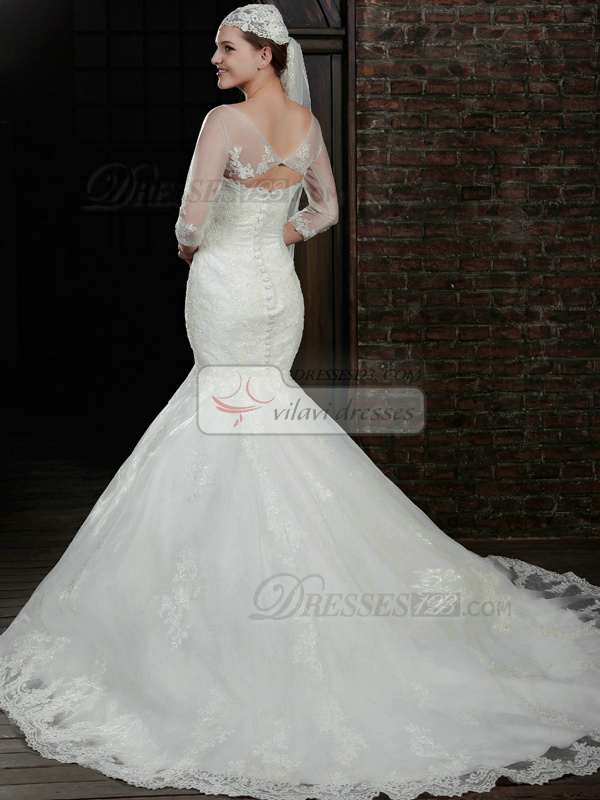 Outstanding Mermaid Lace Strapless Court Train Wedding Dresses With 3/4 Length Sleeve Jacket