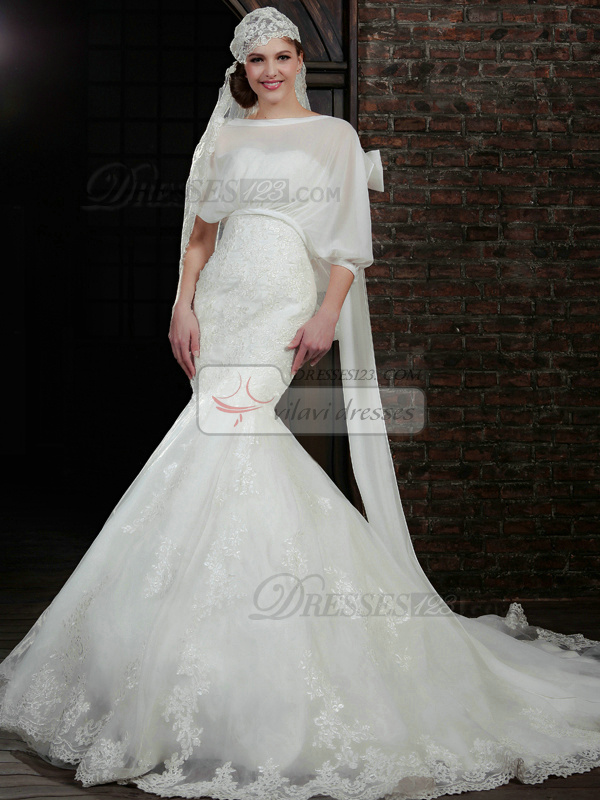 Remarkable Mermaid Lace Strapless Court Train Wedding Dresses With 3/4 Length Sleeve Jacket