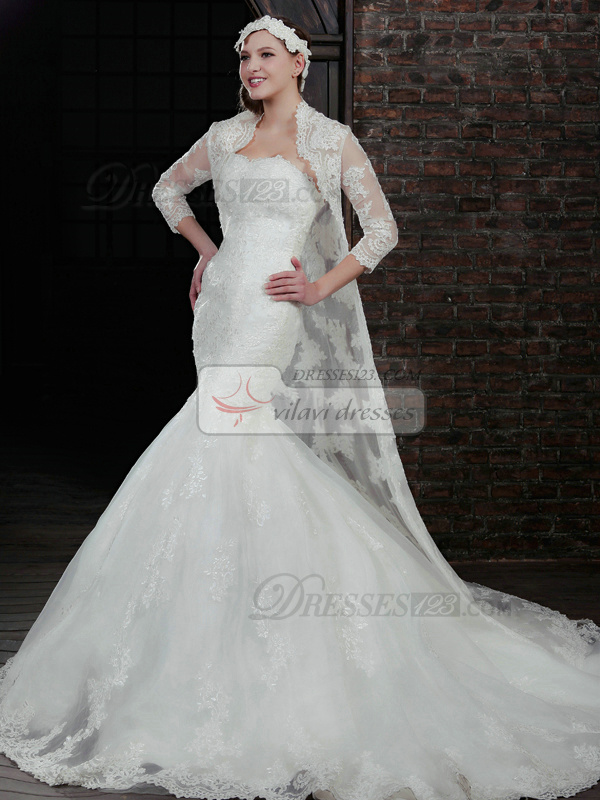 Spectacular Mermaid Lace Strapless Court Train Wedding Dresses With 3/4 Length Sleeve Jacket