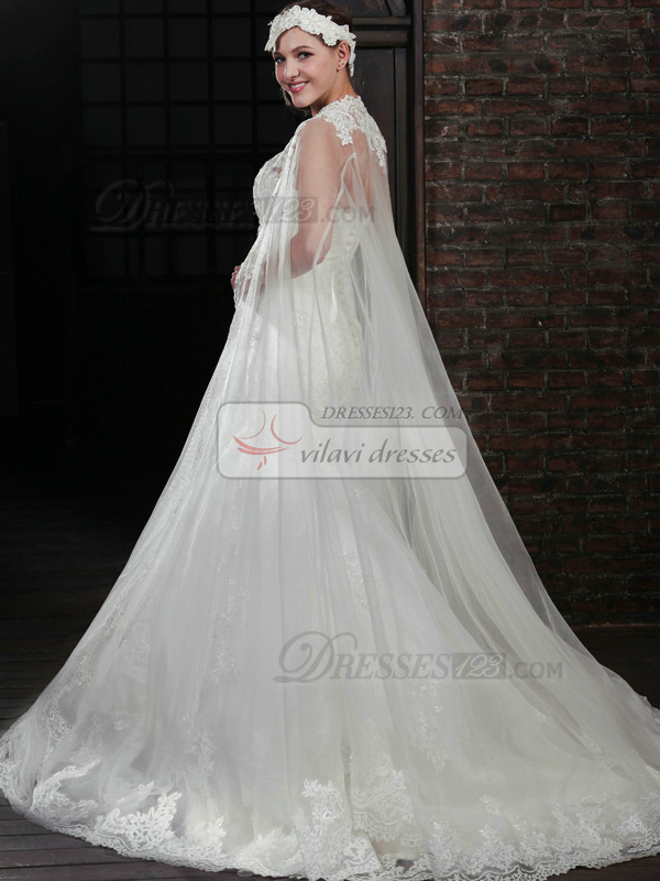Stunning Mermaid Lace Strapless Court Train Wedding Dresses With Jacket