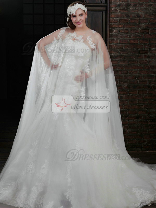 Terrific Mermaid Lace Strapless Court Train Wedding Dresses With Jacket