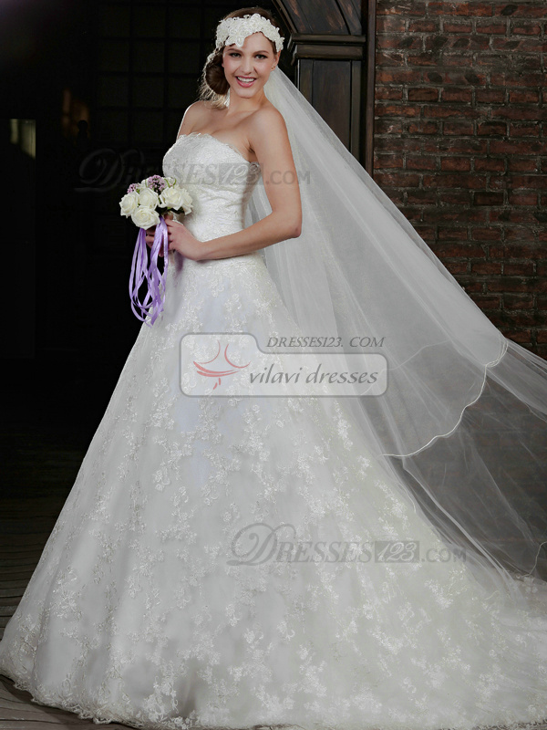 Retro A-Line Lace Strapless Court Train Wedding Dresses With Jacket