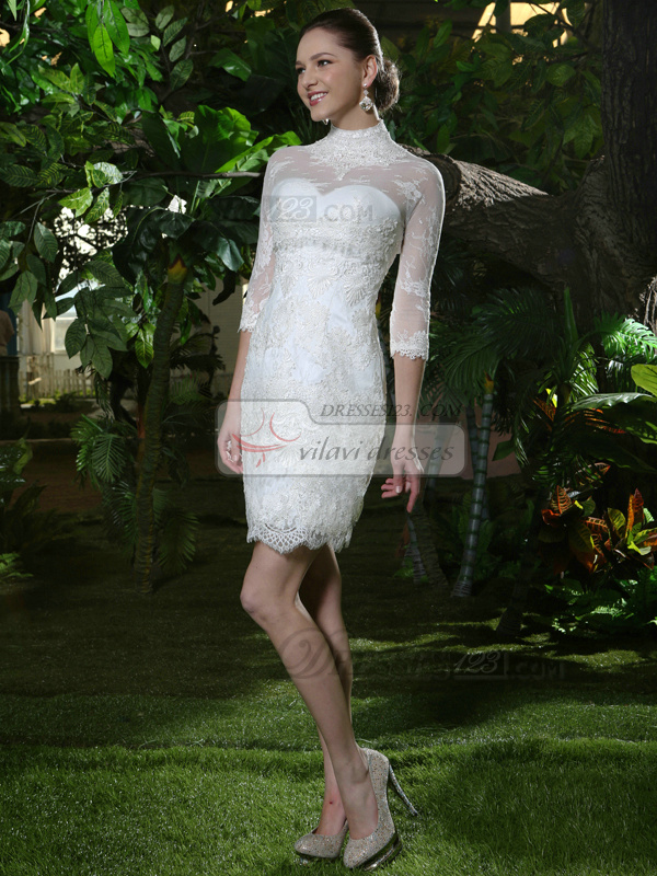 Chic Sheath Lace High Neck Short Lace Wedding Dresses With 3/4 Length Sleeve Transparent Jacket
