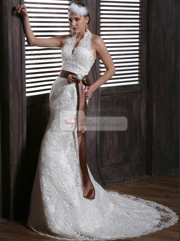Sexy Mermaid Lace Halter Sweep Train with Brown Sash and Rhinestones Backless Wedding Dresses Size 2 And Size 4