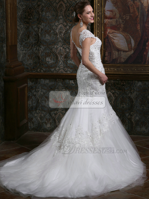 Sparkly mermaid straps cap sleeves court train backless for Sparkly wedding dresses with sleeves