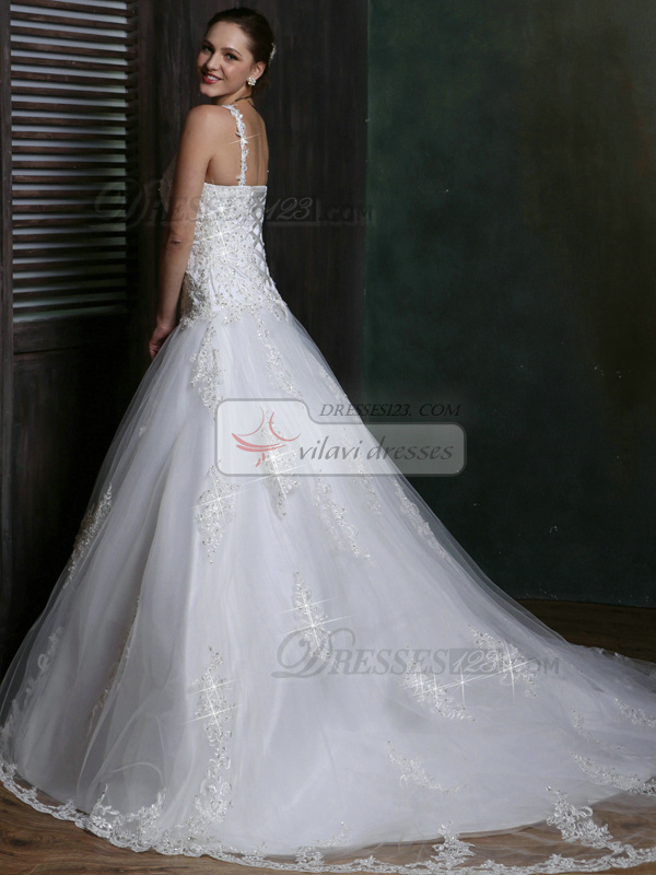Glamorous Over Hip V-neck Chapel Train Spaghetti Straps Lace Wedding Dresses with Rhinestones and Crystals