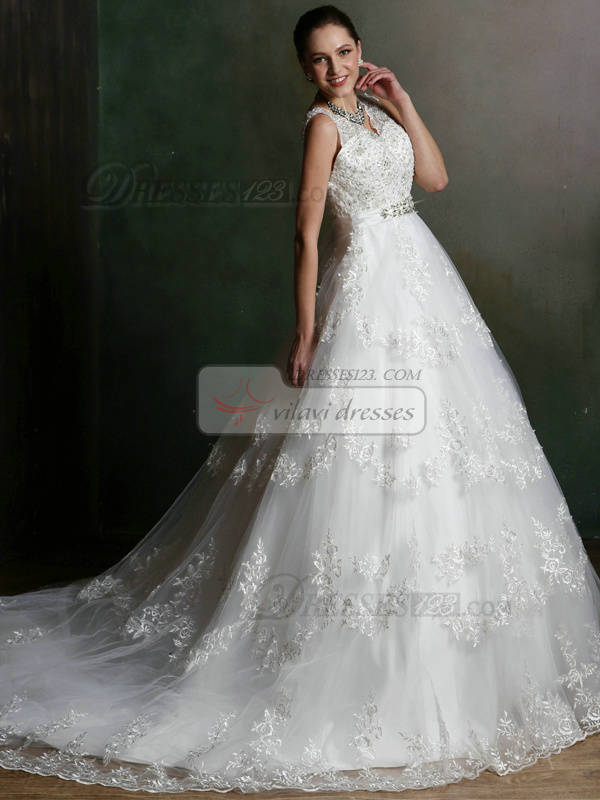 A-line V-neck Court Train Sasha Lace Backless Wedding Dresses with Rhinestones and Crystals Size 2 And Size 4