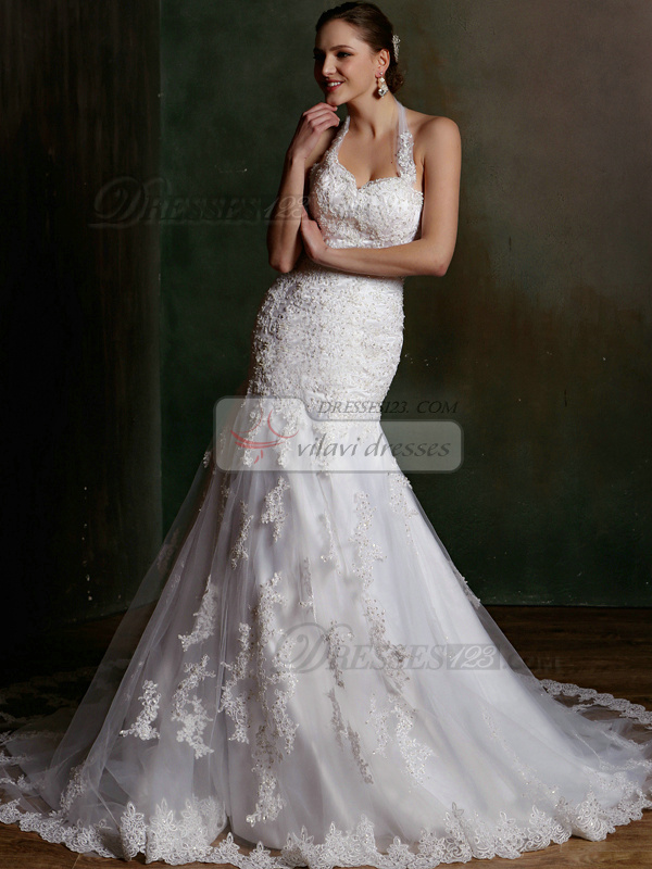 Sexy Mermaid Halter Court Train Lace Wedding Dresses