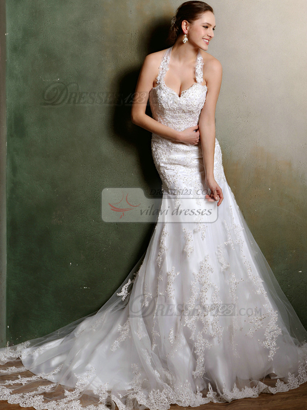 Sexy Mermaid Halter Court Train Lace Wedding Dresses Size 2 And Size 4