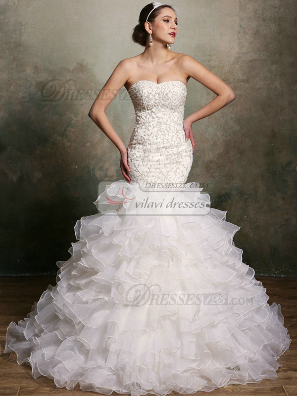 Sparkly Mermaid Organza Sweetheart Court Train Ruffles Wedding Dresses