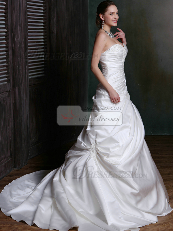 Ruched Over Hip Satin Sweetheart Court Train Wedding Dresses with Lace and Crystals