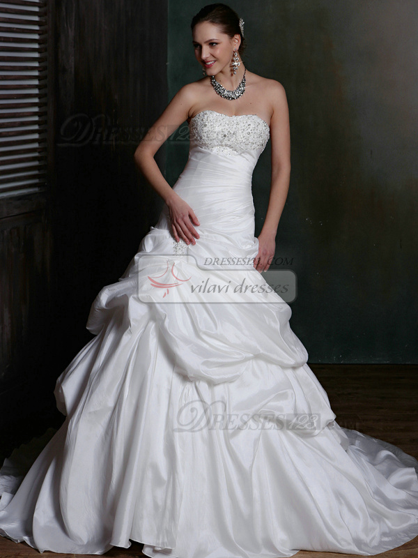Royal Over Hip Satin Sweetheart Court Train Pick-Ups Wedding Dresses with Rhinestones and Crystals