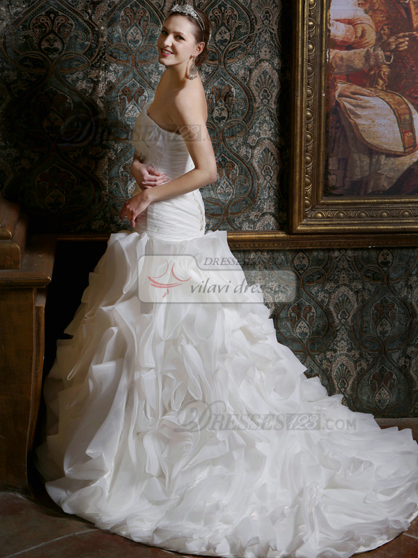 Ruched Mermaid Taffeta Sweetheart Court Train Ruffles Wedding Dresses with Flowers