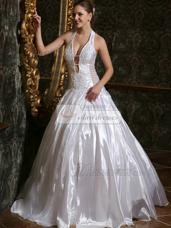Ball Gown Deep V-neck Taffeta Halter Floor-length Lace Ruffles Wedding Dresses Size 2 And Size 4