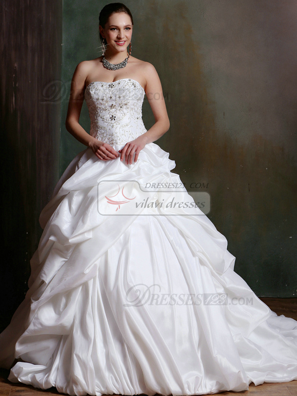 Sparkly Ball Gown Taffeta Sweetheart Court Train Pick- Ups Wedding Dresses with Rhinestones and Crystals