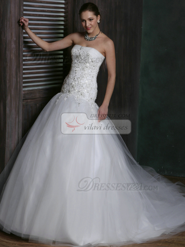 Sparkly Over Hip Tulle Strapless Court Train Lace Wedding Dresses Size 2 And Size 4