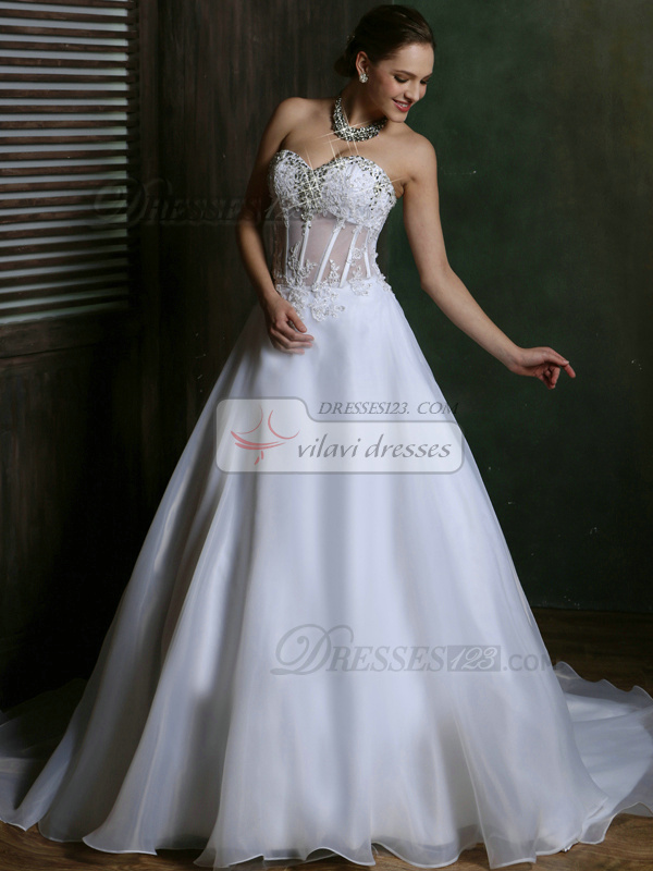 A-line Tulle Sweetheart Court Train Transparent Corset Wedding Dresses with Rhinestones Crystals