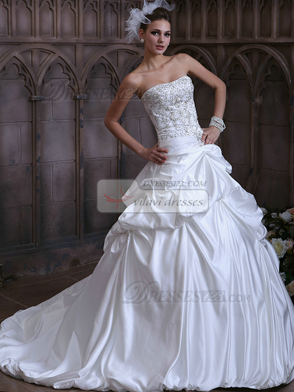 Princess Taffeta Sweetheart Pick-Ups Court Train Wedding Dresses with Beading and Sequin