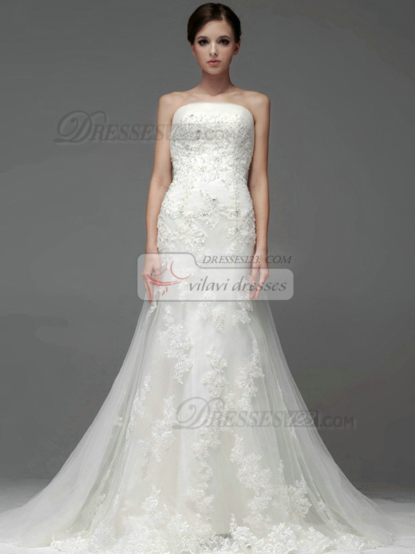 Mermaid Lace Tube Top Strapless Zipper Sweep Appliques Sequin Wedding Dresses