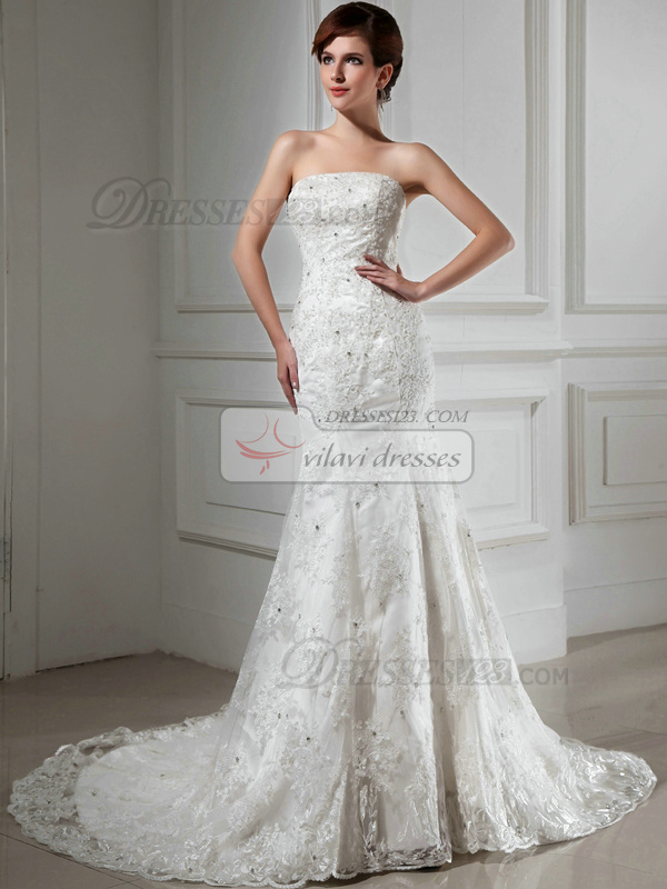 Great Mermaid Lace Tube Top Beading Wedding Dresses