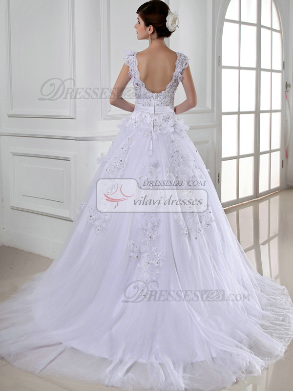Amazing Princess Lace Straps Bowknot Wedding Dresses