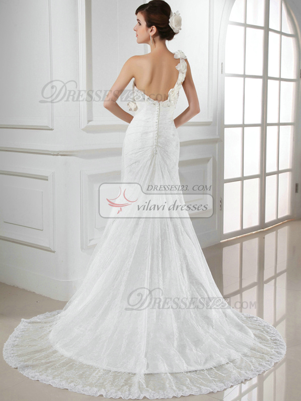 Astounding Mermaid Lace One shoulder Flower Wedding Dresses