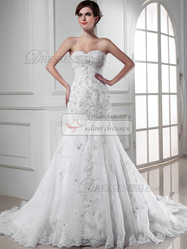 Fabulous Mermaid Lace Sweetheart Appliques Wedding Dresses