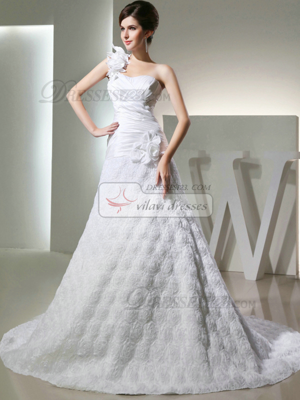 Precious A-line Lace One shoulder Flower Wedding Dresses